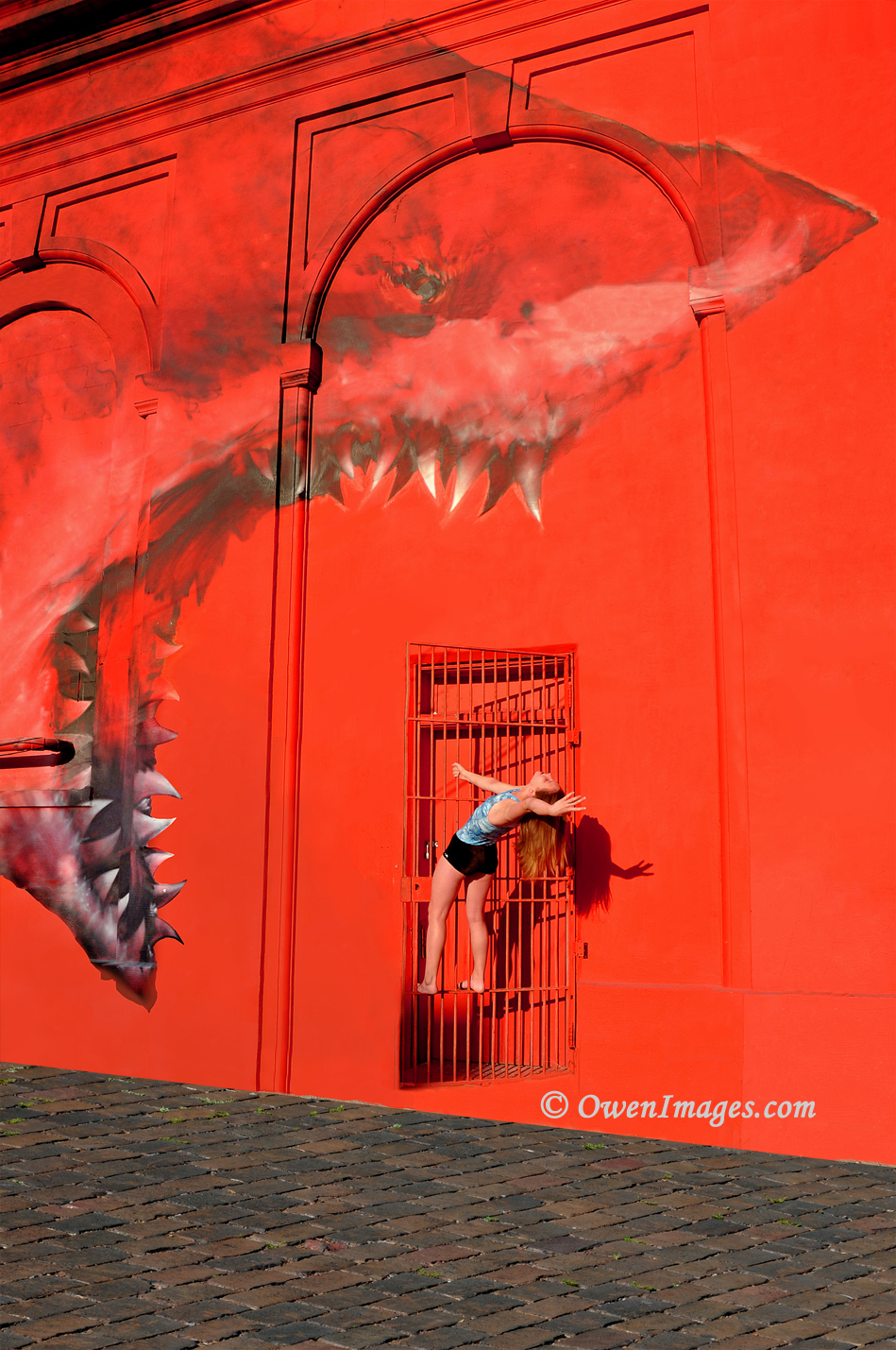 Gymnast about to be eaten by the Shark mural in downtown St Petersburg, Florida